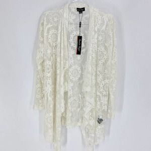 NWT CHARLIE PAIGE Open Front Lace Cardigan/Kimono